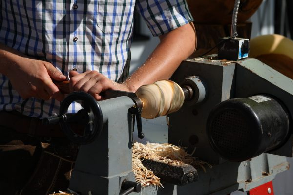 woodturner at the lathe