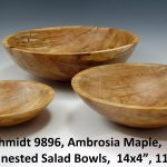 "Glenn Schmidt 9896, Ambrosia Maple, ""Set of 3 nested Salad Bowls, 14x4"", 11x3"", 8x2"""