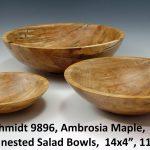 "Glenn Schmidt 9896, Ambrosia Maple, ""Set of 3 nested Salad Bowls, 14x4"", 11x3"", 8x2"""