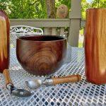 John Stiehler Red cedar vases and walnut bowl