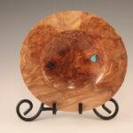 Rita Duxbury - Maple Burl Platter with Turquoise Fill, 8_ round