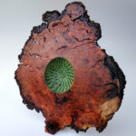Steve Miller, Fine Art Woodworking, CHERRY BURL SCULPTURAL PLATTER, carved, textured, pyrography, acrylics, 13.75 inches wide x 13.5 inches high x 5 inches deep.-001