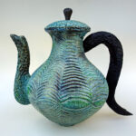 Steve Miller, MAPLE TEAPOT, carved, burned, textured, acrylics, 13 inches wide x 8 inches deep x 12.75 inches high..75 inches high